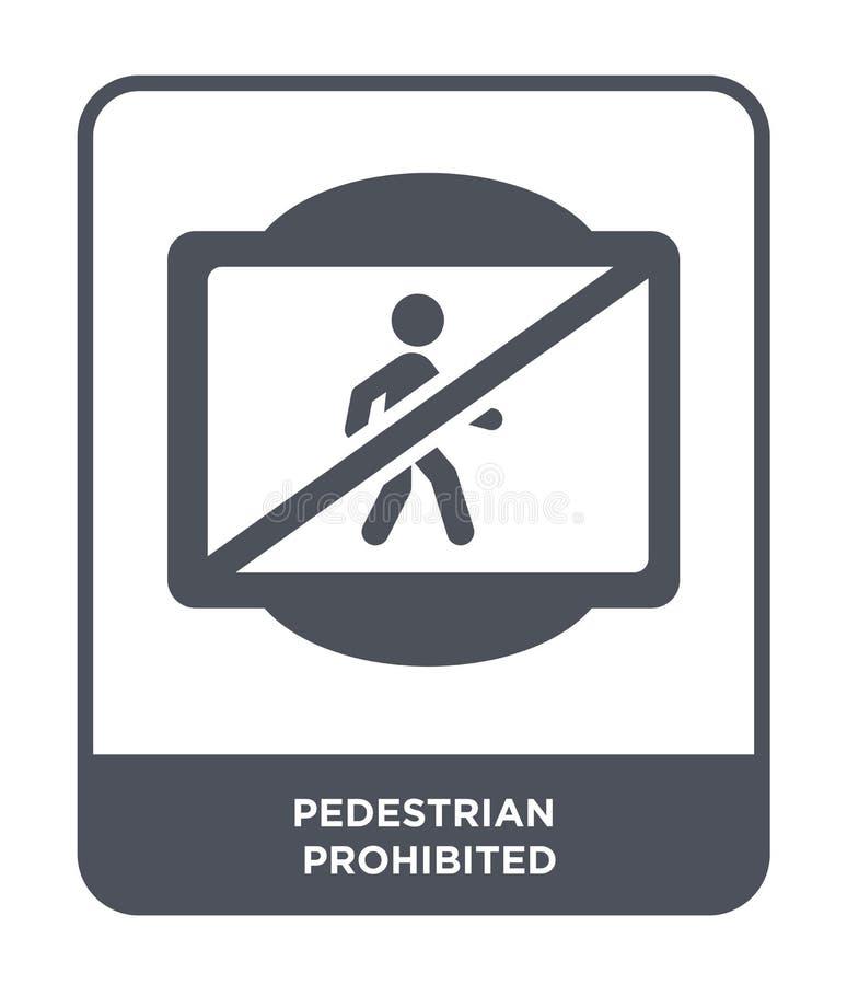 pieszy zabraniająca ikona w modnym projekta stylu pieszy zabroniona ikona odizolowywająca na białym tle pieszy zabraniający royalty ilustracja