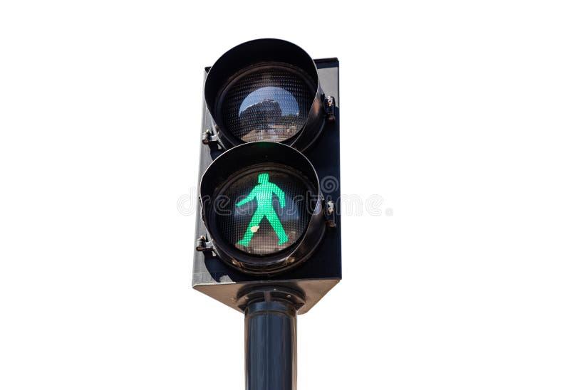 Pieszy zielenieje światła ruchu odizolowywającego na białym tle obraz royalty free