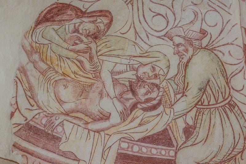 PietÃ,基督的悲叹,一幅古老哥特式壁画 库存照片