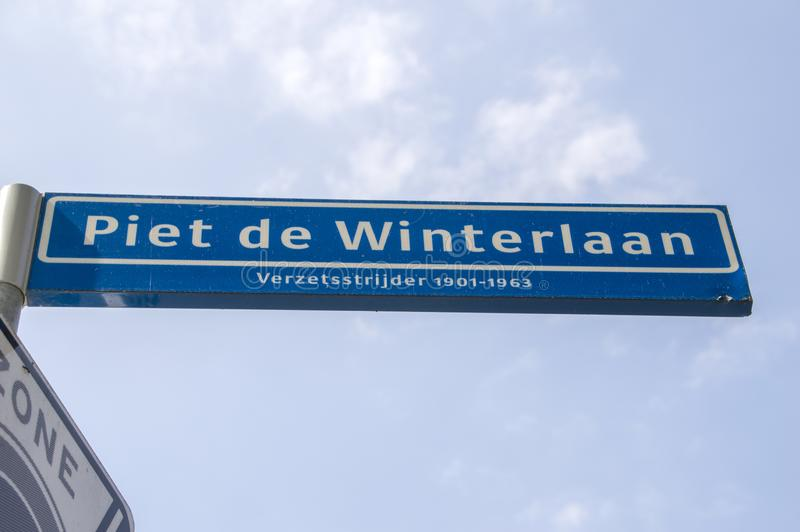 Piet De Winterlaan Street Sign At Amstelveen les Pays-Bas 2019 photo stock