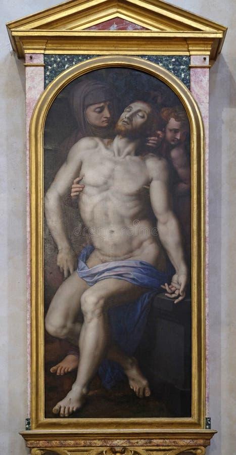 Pieta by Agnolo di Cosimo, Basilica di Santa Croce in Florence. Pieta by Agnolo di Cosimo usually known as Il Bronzino, or Agnolo Bronzino, Basilica di Santa royalty free stock image