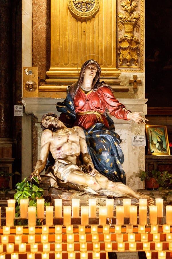 Pieta Statue in a catholic church in Rome stock image