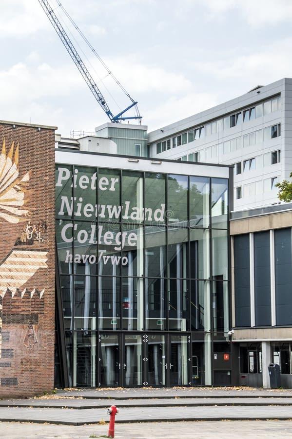 Pieter Nieuwland School Building At Amsterdam The Netherlands 2018.  stock photo