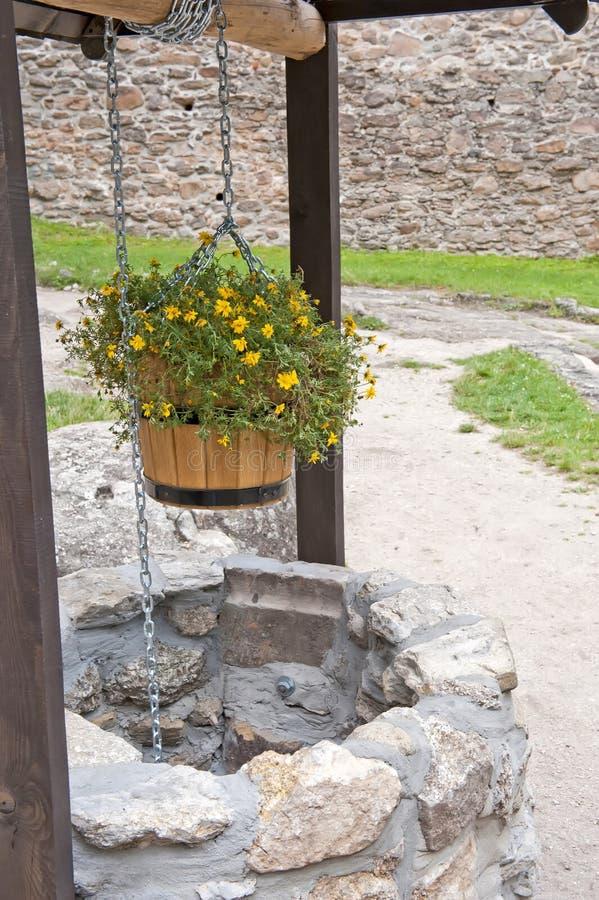 Pietra bene con i fiori fotografia stock libera da diritti