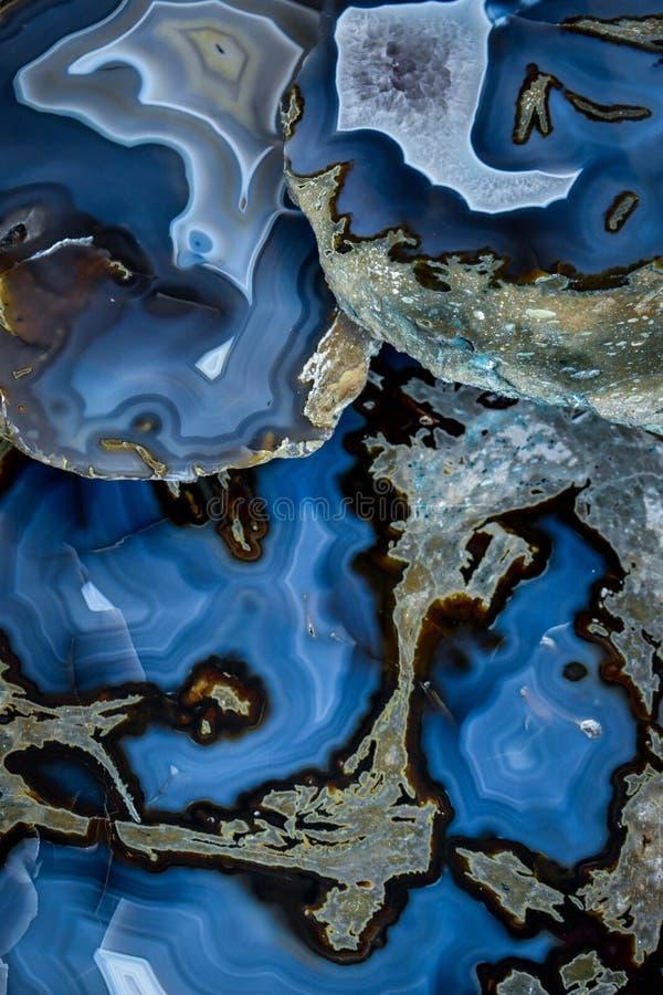 Pietra blu del cristallo dell'agata fotografia stock