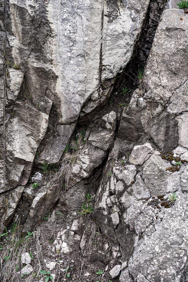Pietra della montagna ed erba verde Fondo Struttura sfuocatura fotografia stock