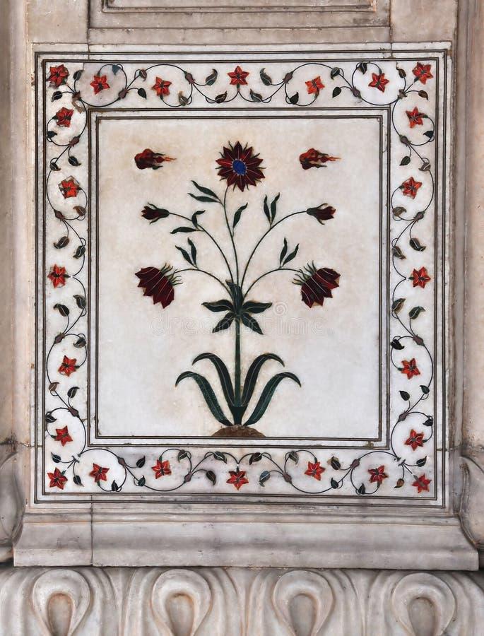 Pietra Dura Marmuru Panelu Czerwony Fort Delhi fotografia royalty free