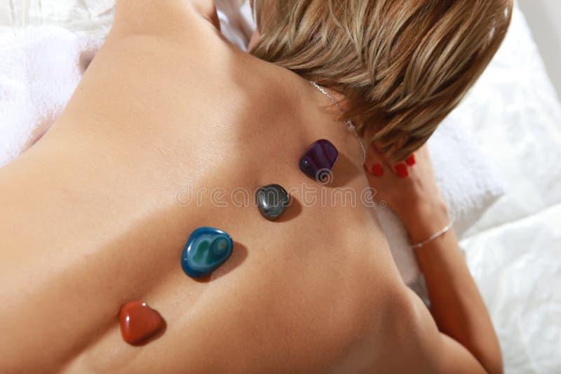 Pietra minerale calda di massaggio fotografia stock libera da diritti