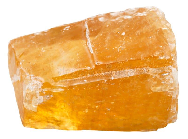 Pietra minerale della calcite arancio isolata su bianco fotografia stock libera da diritti