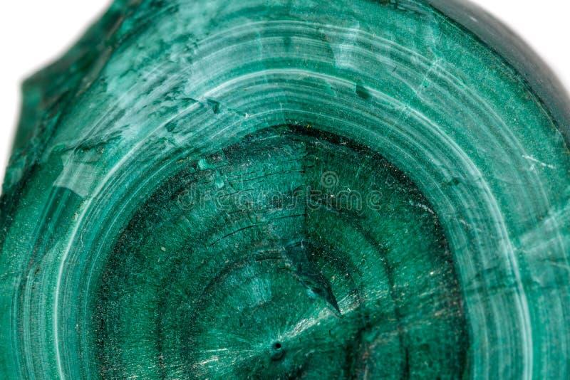 Pietra minerale della macro malachite su fondo bianco fotografie stock