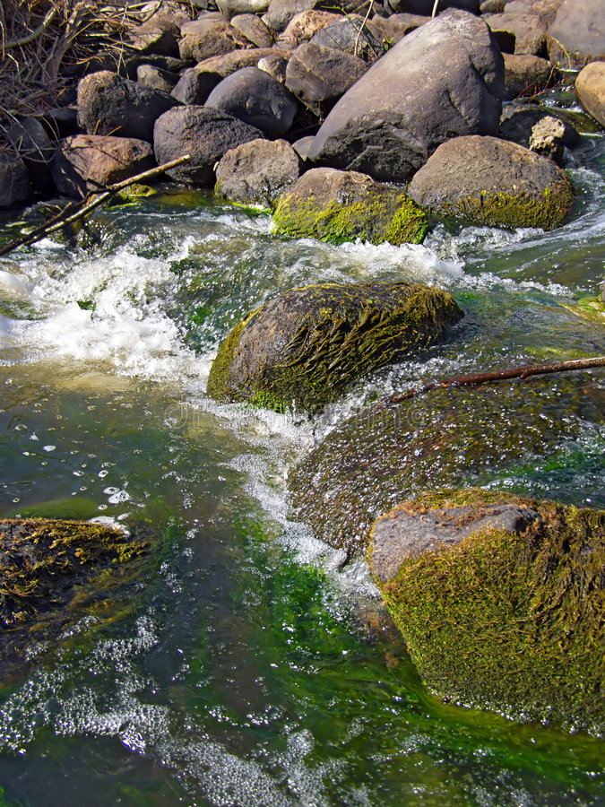 Pietra nel flusso del fiume immagini stock libere da diritti