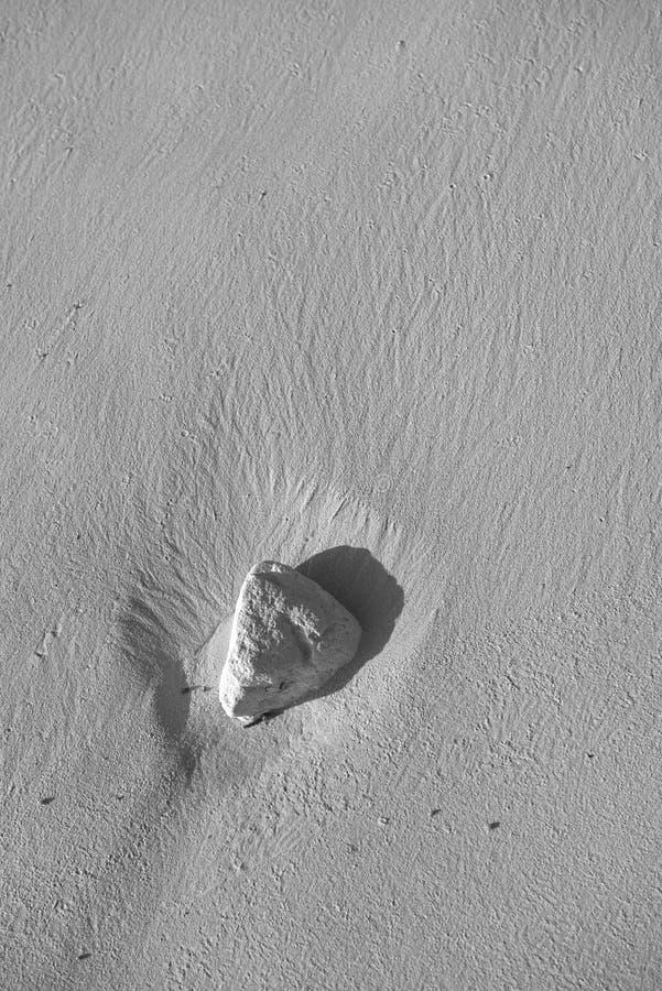 Pietra nella sabbia lavata su da acqua salata dell'Oceano Atlantico sulla spiaggia di Punta Cana immagine stock libera da diritti