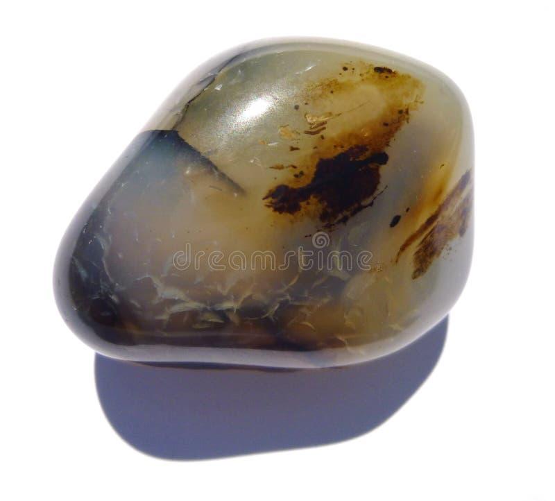 Pietra preziosa dentritica scenica del minerale del Madagascar dell'agata Brillante, stratificato fotografia stock libera da diritti
