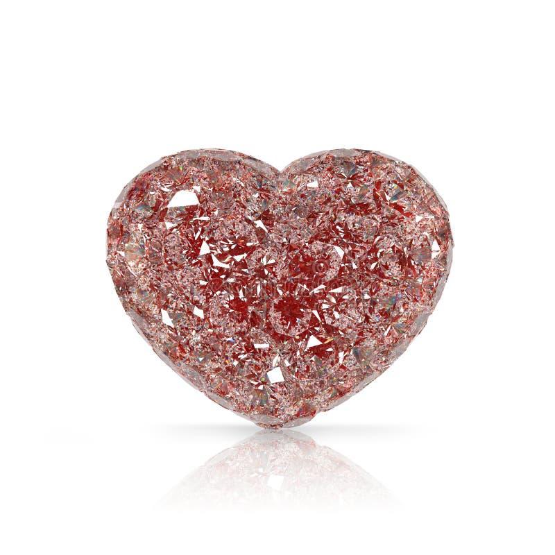 Pietra preziosa a forma di del cuore dei diamanti su fondo bianco illustrazione vettoriale