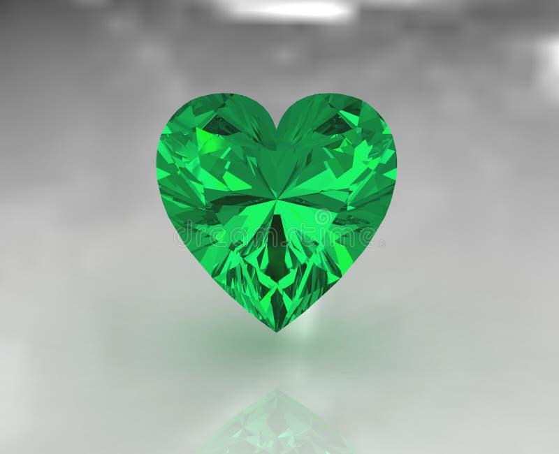 Pietra preziosa verde smeraldo di figura del cuore grande illustrazione di stock
