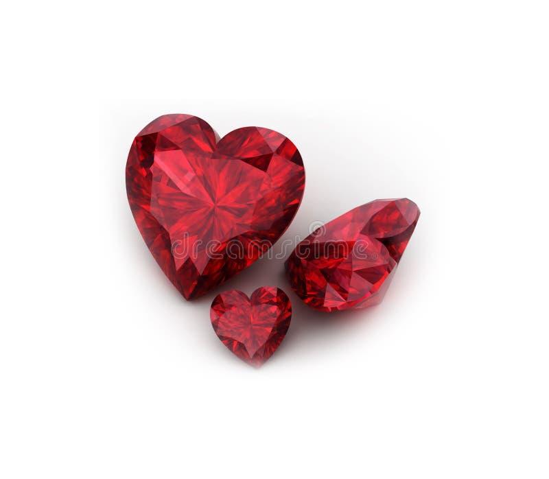 Pietra preziosa vermiglia a forma di del cuore royalty illustrazione gratis