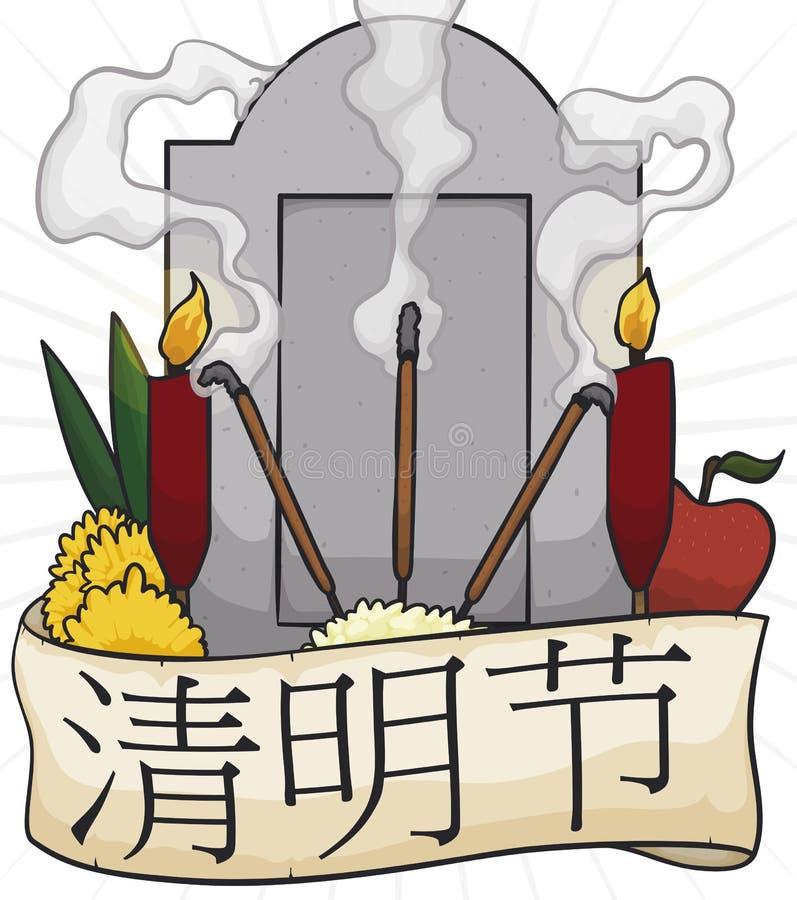 Pietra tombale con le offerti pronte a realizzare rituale durante il festival di Qingming, illustrazione di vettore illustrazione di stock