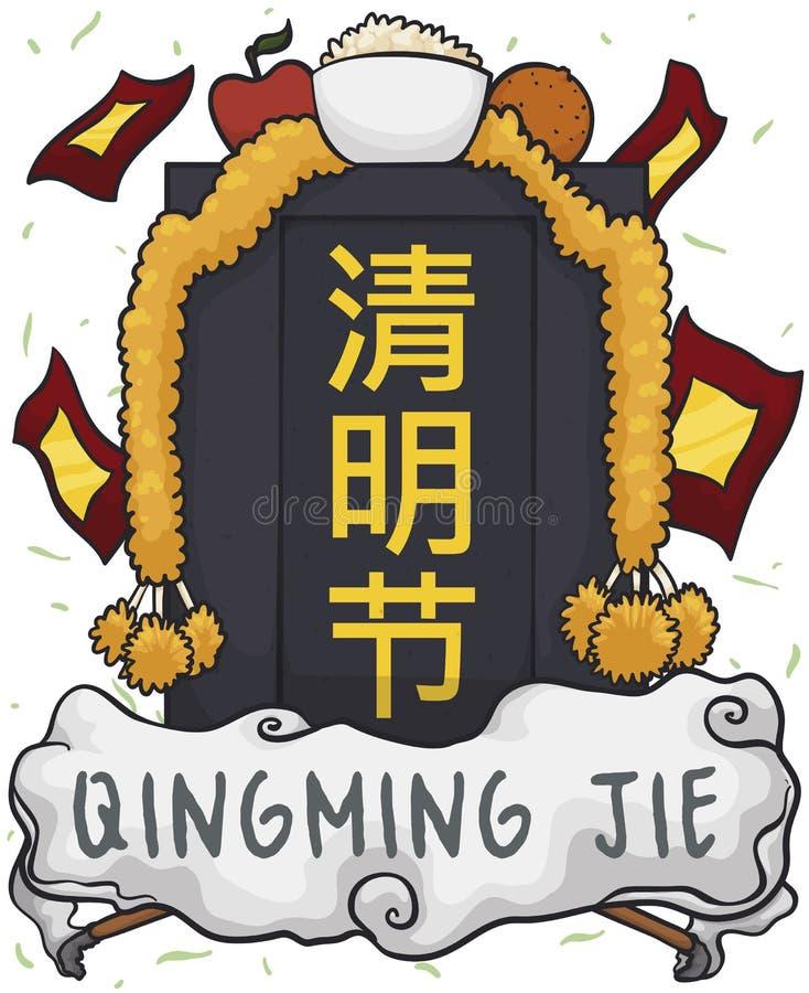 Pietra tombale decorata con i soldi del fantasma ed offrire per il festival di Qingming, illustrazione di vettore royalty illustrazione gratis