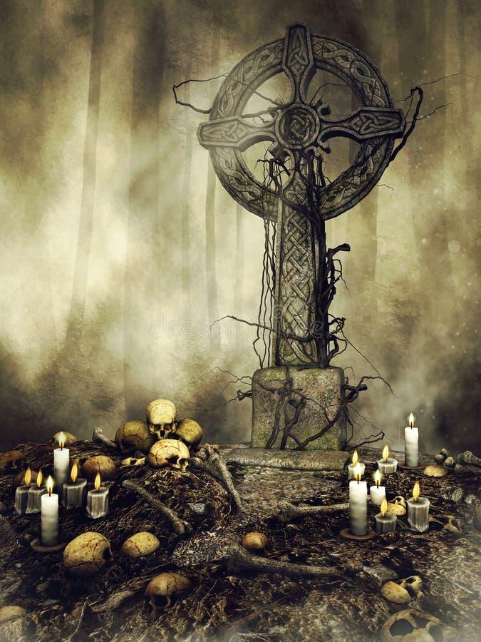 Pietra tombale gotica con i crani e le candele illustrazione di stock