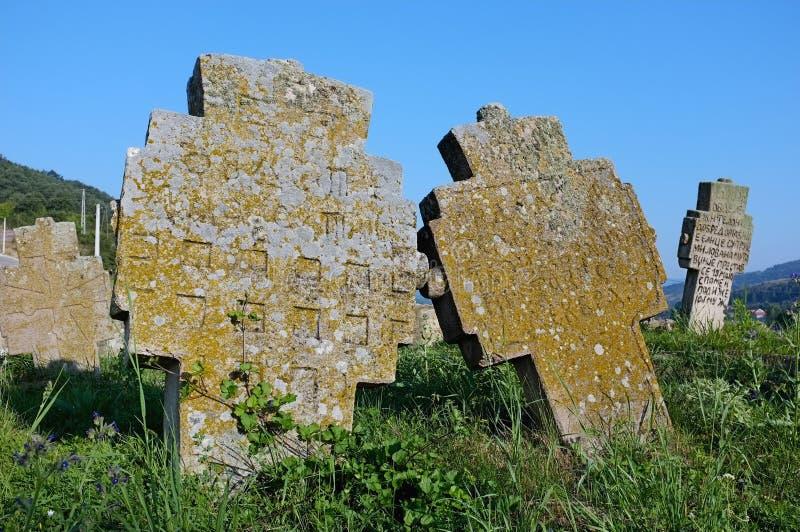 Pietra tombale medievale, Serbia fotografie stock