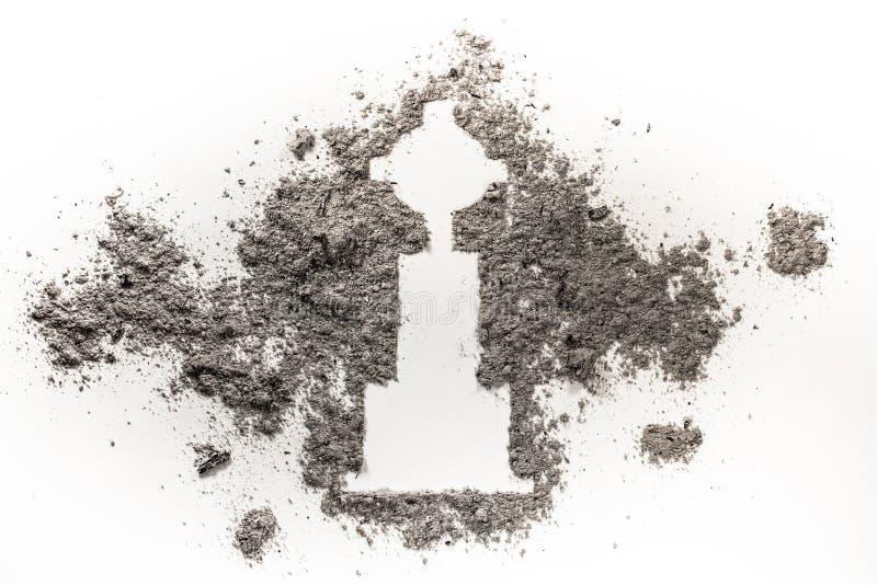 Pietra tombale o lapide che assorbe cenere, sporcizia o sabbia fotografie stock