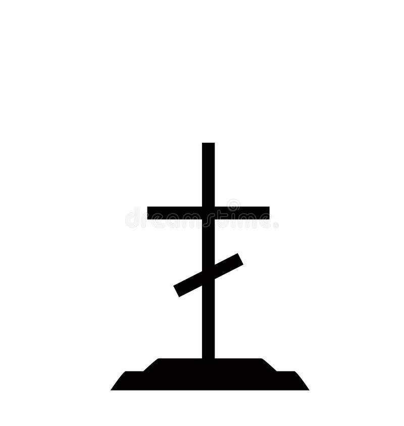 Pietra tombale sulla tomba morta della tomba con l'incrocio cattolico illustrazione di stock