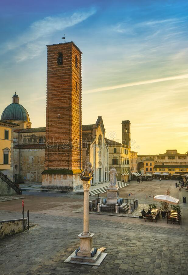 Pietrasanta old town view at sunset, Versilia Lucca Tuscany Italy stock image