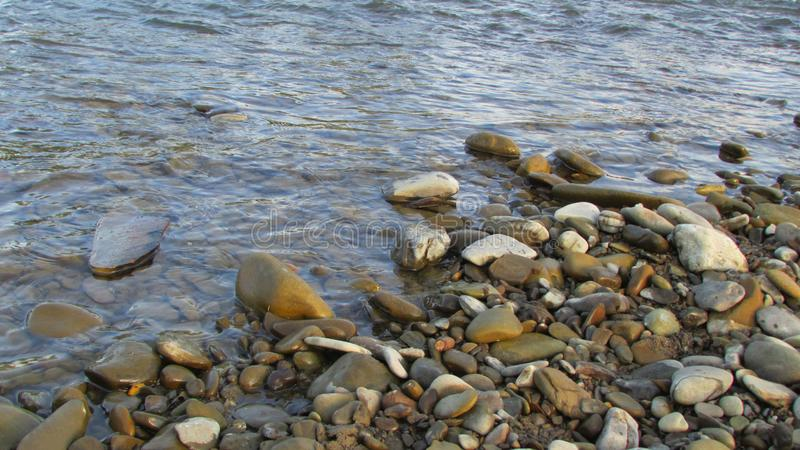 Pietre bagnate del fiume nell'acqua riverbank immagini stock libere da diritti