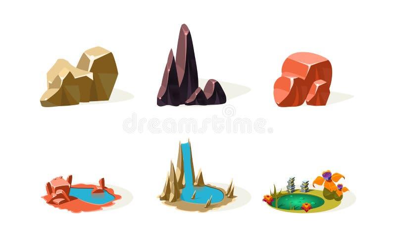 Pietre della roccia, laghi, cascata, elementi di paesaggio naturale, beni dell'interfaccia utente per il app mobile o vettore del illustrazione di stock