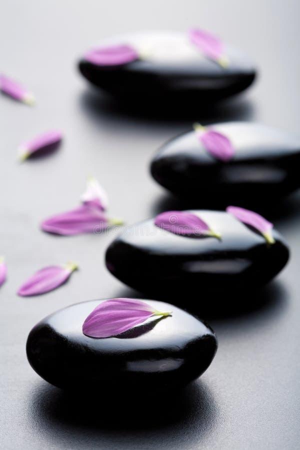 Pietre e petali di massaggio immagini stock libere da diritti