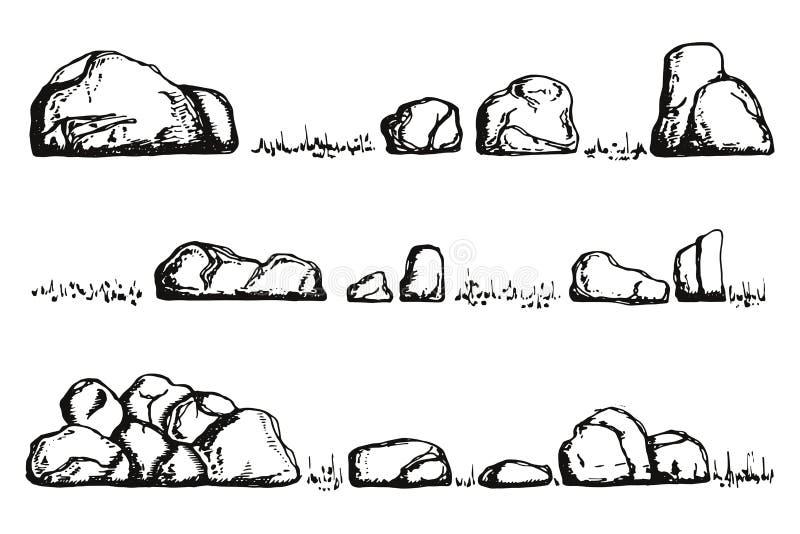 Pietre ed erba disegno isolato della mano illustrazione di stock