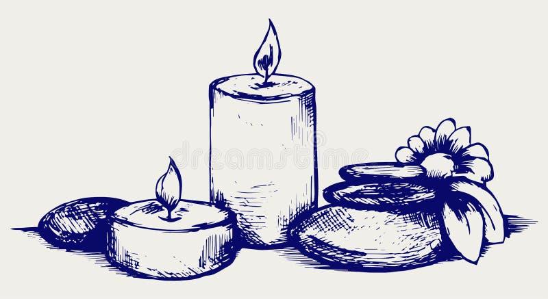 Pietre, fiore e candele del basalto illustrazione vettoriale
