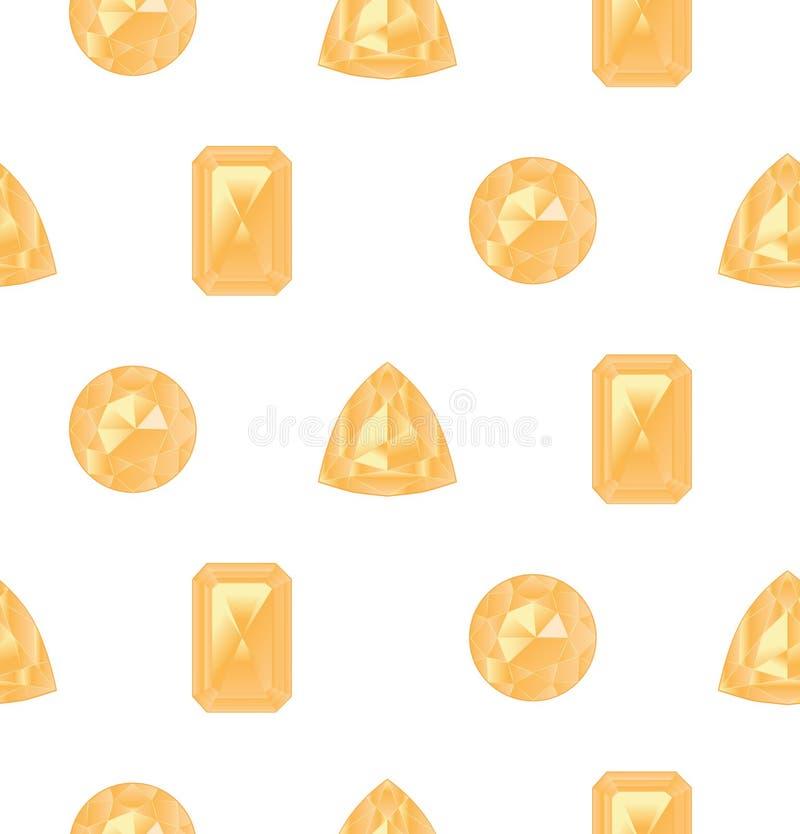 Pietre preziose gialle messe illustrazione vettoriale