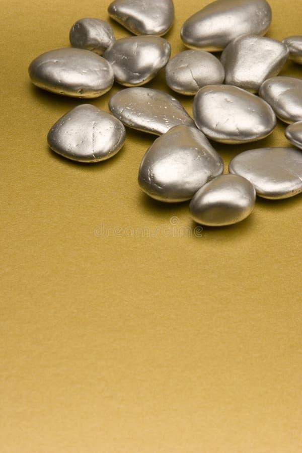 Pietre verniciate argento immagine stock libera da diritti
