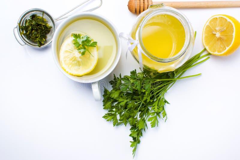Pietruszki herbata z cytryną i miodem obraz royalty free