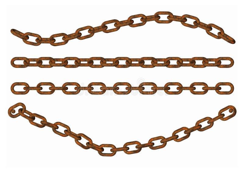 Pieza de cadena del metal en el fondo blanco ilustración del vector