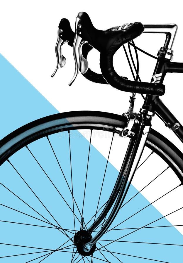 Pieza de la bici del camino del vintage Dirección, frenos y rueda delantera Estilo blanco y negro de los deportes fotos de archivo