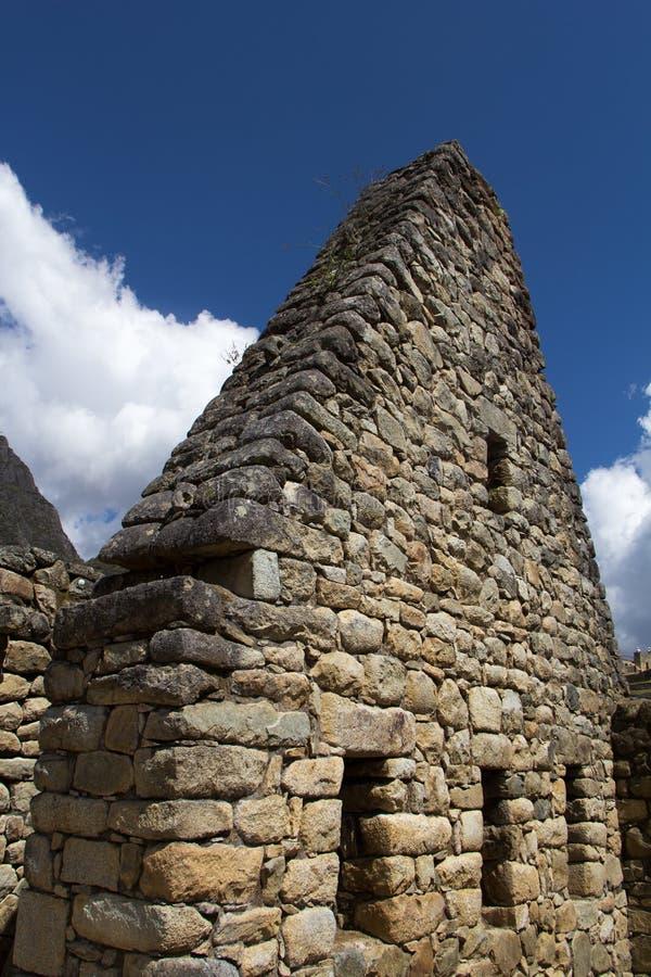 Pieza de la pared del edificio de los incas imagen de archivo
