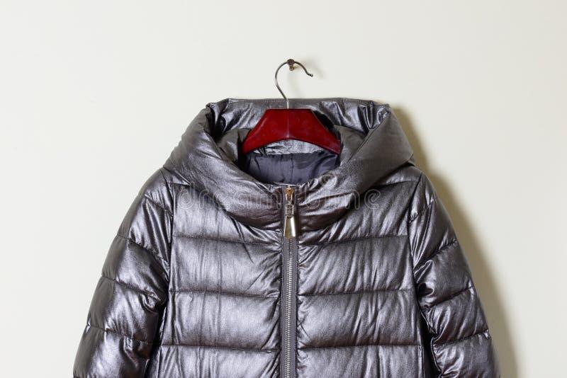 Pieza de una chaqueta del invierno del ` s de las mujeres con una capilla gris, primer Abrigo de pieles en una suspensión, color  imagen de archivo libre de regalías