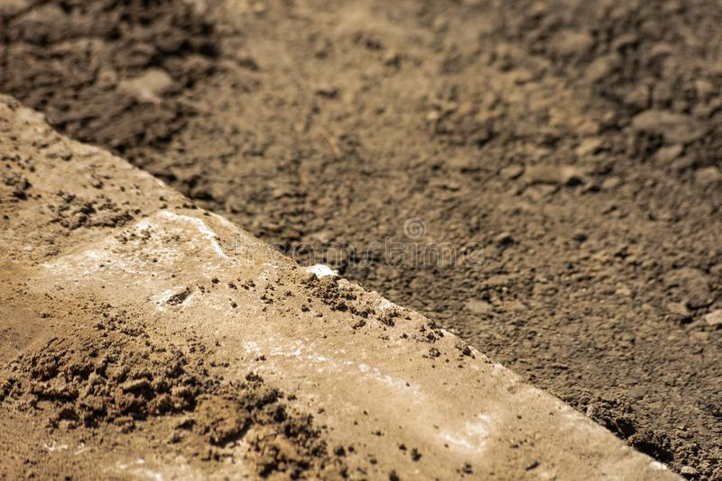 Pieza del camino bajo construcción fotos de archivo