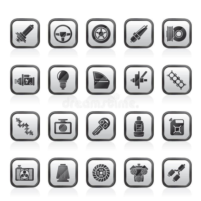 Pieza del coche e iconos 1 de los servicios stock de ilustración