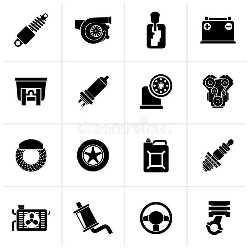 Pieza del coche e iconos negros de los servicios ilustración del vector