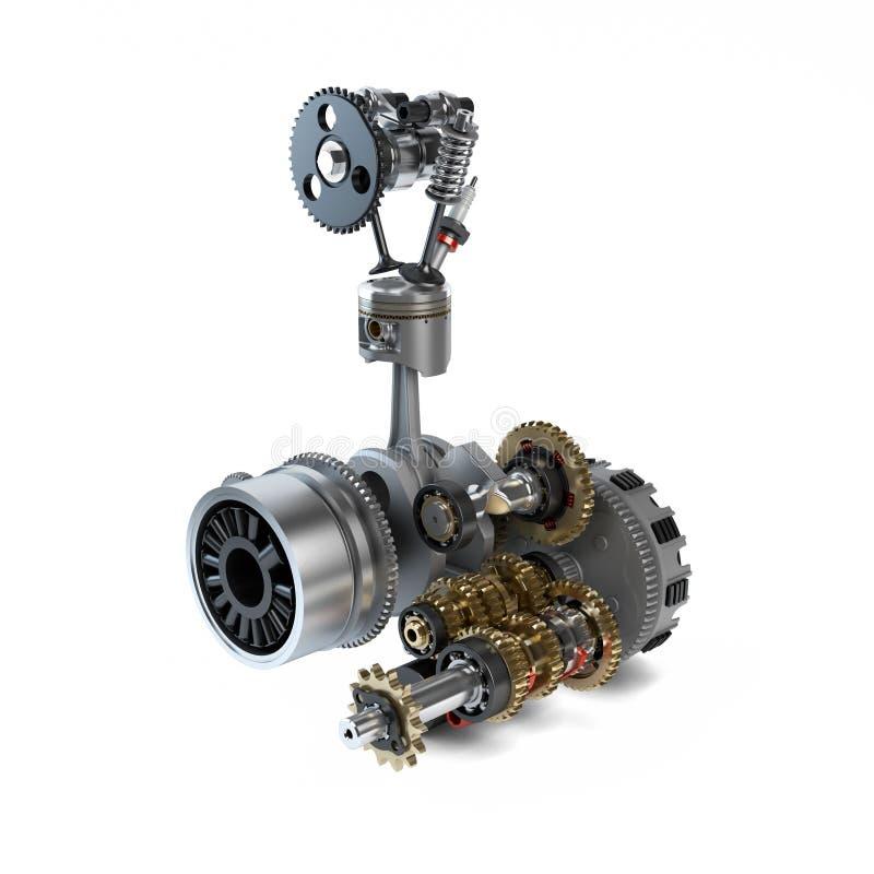 Pieza del motor desensamblado que muestra el pistón libre illustration