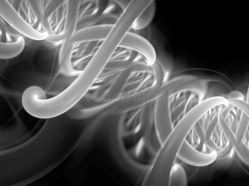 Pieza espiral de la DNA que brilla intensamente blanco y negro stock de ilustración