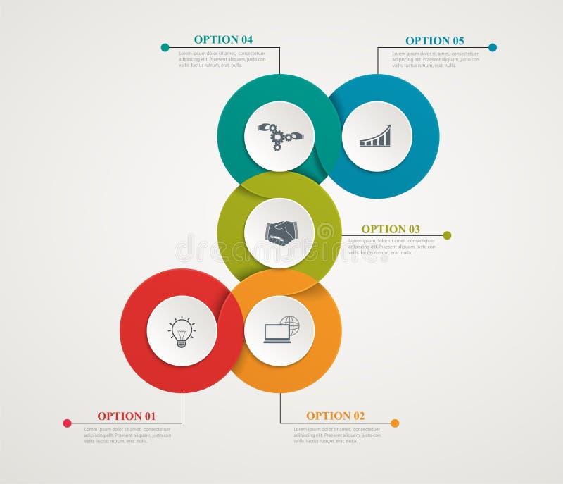 Piezas abstractas Infographic de los círculos con la estructura gradual Diagramas de la plantilla stock de ilustración