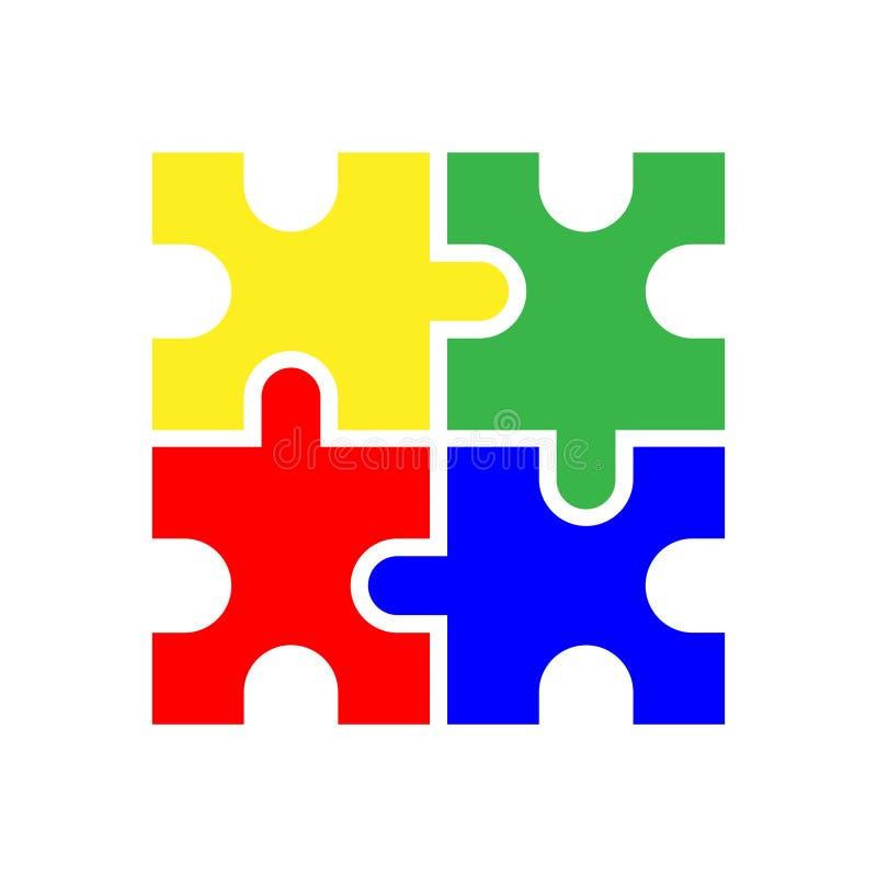 Piezas coloreadas en blanco del rompecabezas cuatro ilustración del vector