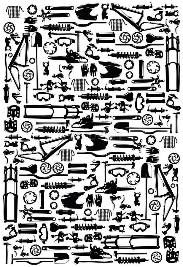 Piezas de la bici ilustración del vector