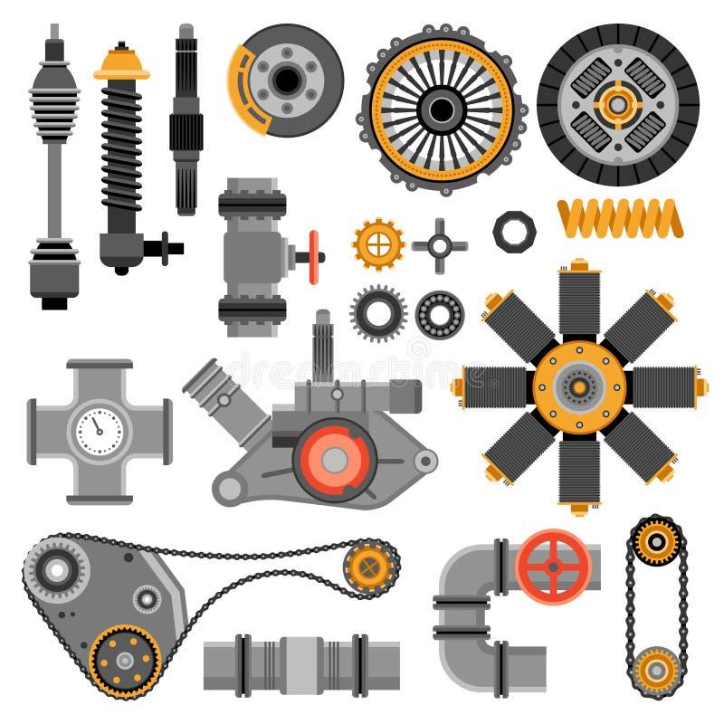 Piezas de maquinaria fijadas ilustración del vector