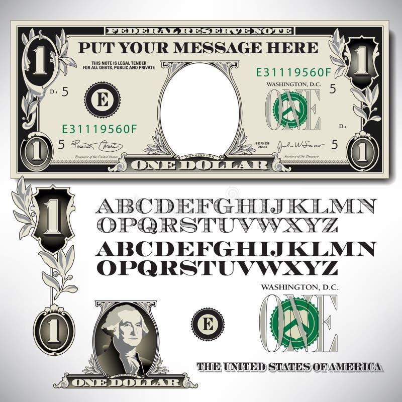 Piezas de un billete de dólar con un alfabeto libre illustration