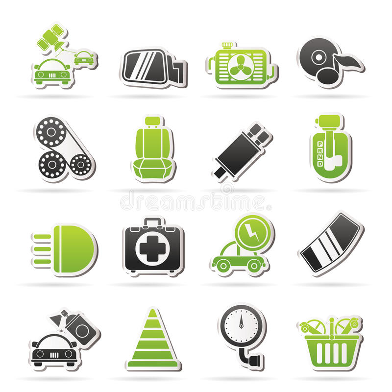 Piezas del coche e iconos de los servicios stock de ilustración